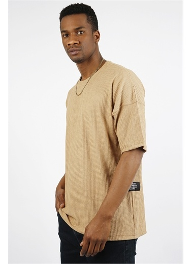 XHAN Mint Bürümcük Kumaş Oversize T-Shirt 1Yxe1-44912-43 Krem